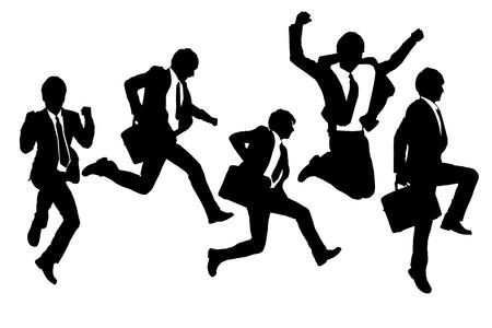 personas celebrando: Siluetas de salto feliz y hombres de negocios que se ejecutan con el fondo blanco
