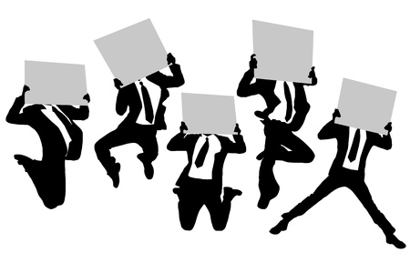 asian business group: Silhouettes of business man running jumping and holding whiteboard (billboard) isolated on white background in full length Illustration