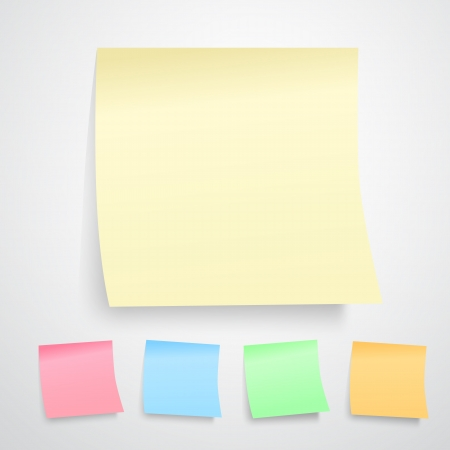 illustration of yellow post it notes isolated on white background. ( all kinds of color version) Vector