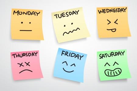sonrisa: múltiples pegatinas de color, que muestra día de la semana y la expresión de la cara de cada color por separado, aislados en fondo blanco