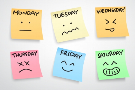 post: multiple color stickers, displaying day of week and face expression on each separate color, isolated on white background