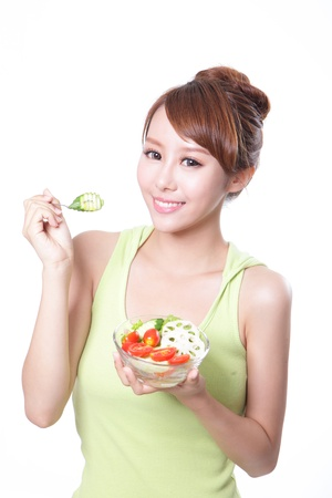 portrait of attractive woman smile eating salad isolated on white background, asian beauty model photo