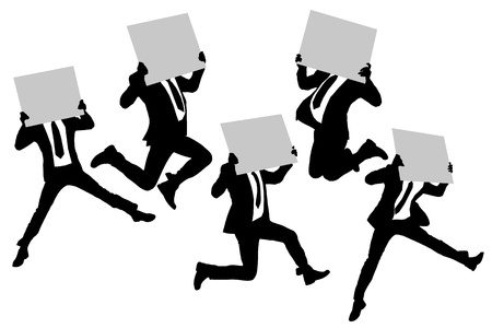 blank poster: Silhouettes of business man running jumping and holding whiteboard (billboard) isolated on white background in full length Illustration
