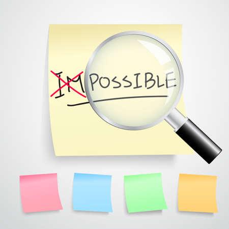 tornitura: girando la parola impossibile in possibile con la linea rossa sulle note di carta gialla isolato su sfondo bianco. (Tutti i tipi di versione a colori)