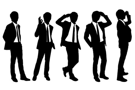 guy standing: Silhouettes of successful business man purposefully looking away to empty copy space in full length isolated on white background