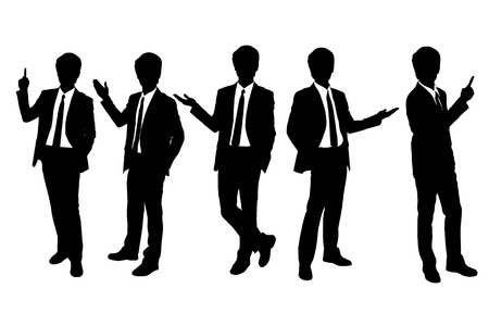 displaying: Silhouettes of business man presenting in full length isolated over a white background Illustration