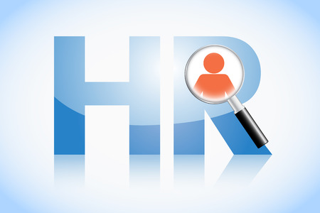 job interview: Human resource concept, HR text and magnifying glass