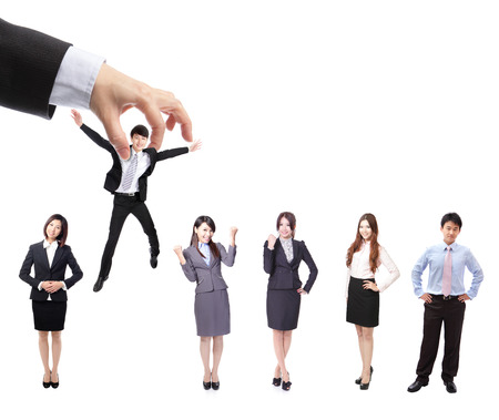 Human Resources concept: choosing the perfect candidate (business man) for the job, model are asian people Stock Photo