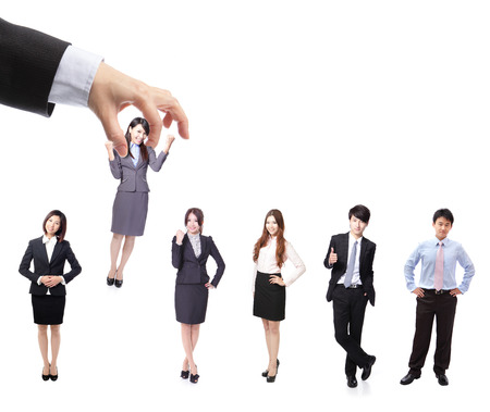 candidate: Human Resources concept: choosing the perfect candidate for the job, model are asian people