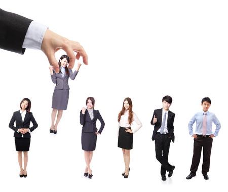 Human Resources concept: het kiezen van de perfecte kandidaat voor de job, model zijn Aziatische mensen Stockfoto