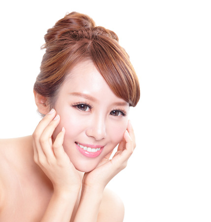 whiten: Beautiful Woman face with hands with health skin and teeth, concept for skin care and dental care, asian woman