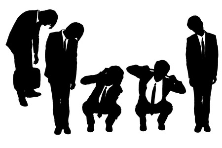 anxious: Silhouettes of business man looking depressed from work with white background Illustration