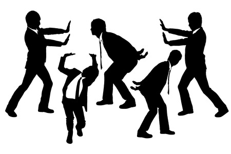 man pushing: Silhouettes of Businessmen push or holding something heavy with white background