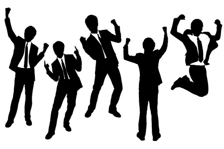 excited people: Silhouettes of excited happy Businessmen with white background Illustration