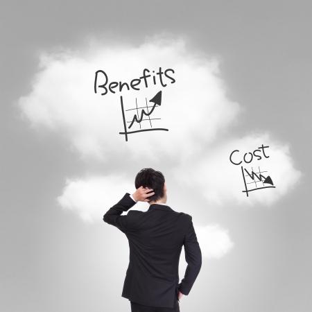 persona pensando: persona de negocios pensando en el costo y los beneficios problema, el modelo asi�tico