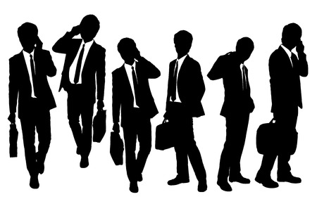 business briefcase: Silhouettes of Business men Walking and speaking mobile phone
