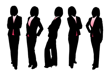 woman fist: Silhouettes of Business woman with white background