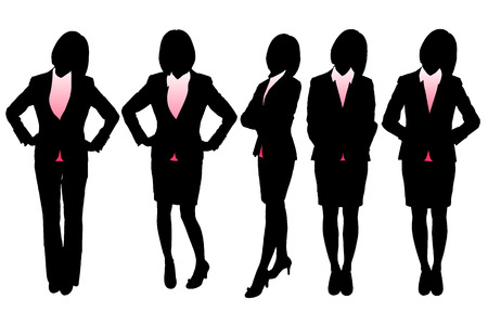full length: Silhouettes of Business woman with white background
