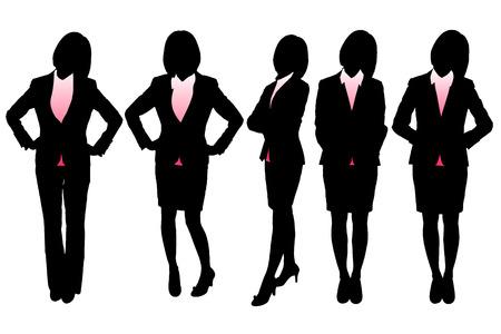 fullbody: Siluetas de la mujer de negocios con el fondo blanco