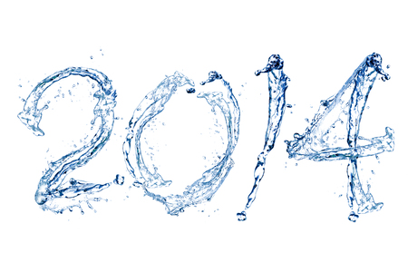 Happy New Year 2014 by Pure splash of water isolated on white background photo