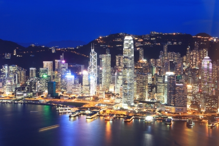 Hong Kong city night view , asia
