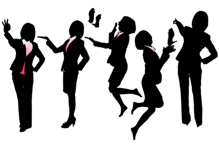 back view student: Silhouettes of Business woman with white background