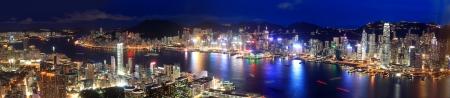 panorama view: Hong Kong vista notturna nel panorama Archivio Fotografico