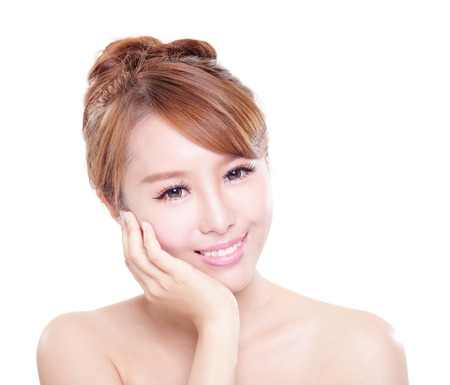 Smile happy Face of beautiful woman with health teeth and skin care isolated over white background. Beautiful young asian woman model Stock Photo