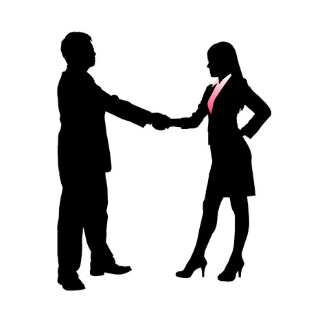 business people shaking hands: Silhouettes of Business team with white background Illustration