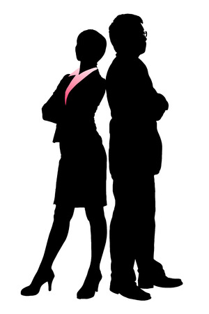fullbody: Silhouettes of Business team with white background Illustration