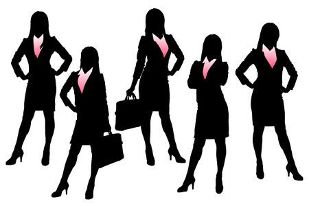 business team: Silhouettes of Business woman with white background