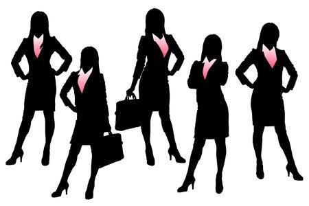 comercios: Siluetas de la mujer de negocios con el fondo blanco