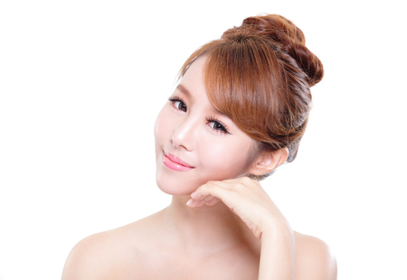 skin care woman: beautiful Skin care woman Face isolated over white background. asian Beauty Stock Photo