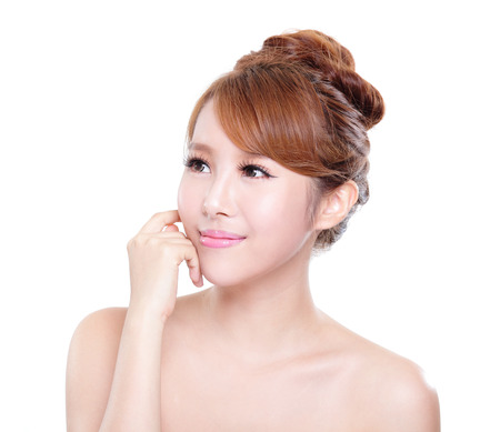 beautiful Skin care woman Face isolated over white background. asian Beauty Stock Photo