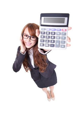 calculator: Happy smiling business woman holding calculator machine, high angle view, full length portrait isolated on white. asian beauty
