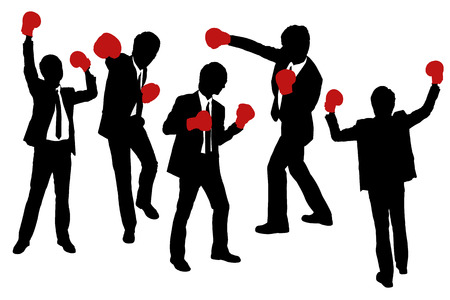 arise: Silhouettes of Businessmen wearing boxing gloves in a victory pose