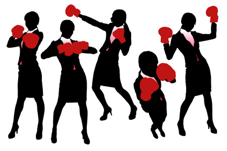 business competition: Silhouettes of Business woman boxing and punching, business competition concept.