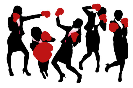 girl fight: Silhouettes of Business woman boxing and punching, business competition concept.