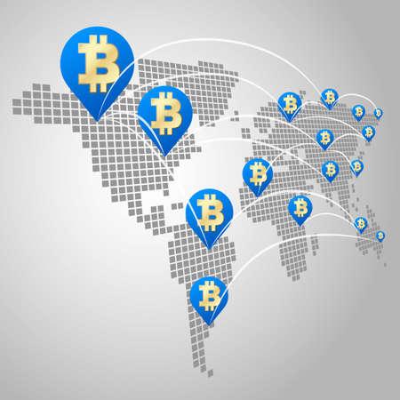 globális üzleti: Bitcoin globális üzleti koncepció, Dot Világ térképek a Bitcoin virtuális valuta Illusztráció