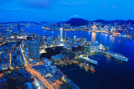 hong kong night: Hong Kong night view in panorama