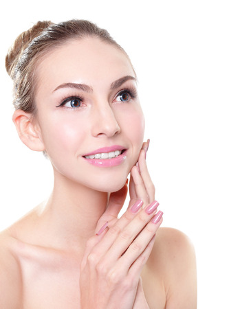 russian woman: close up of Beautiful young woman smiling face with health skin and teeth, Skin care or dental care concept