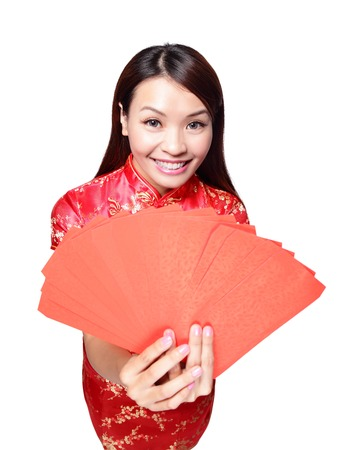 happy chinese new year. smiling asian woman holding red envelope Stock Photo - 24942088