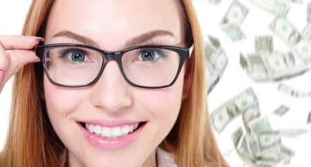 business woman touch eye glasses with money falling rain isolated on white  photo