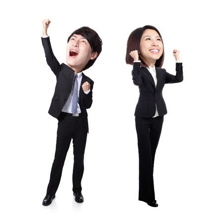 Excited business man and woman with arms raised in full length Isolated on white background, asian, big head photo