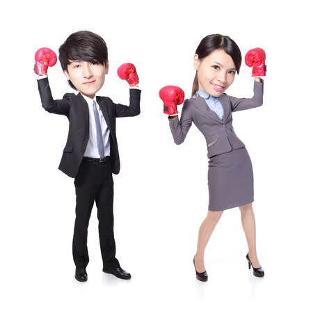 Business man and woman win pose with boxing gloves in full length isolated on white background, asian, big head photo
