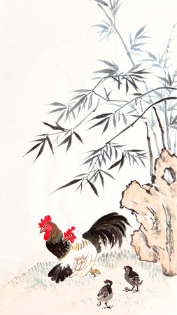 chinese painting: traditional Chinese painting ,bamboo and chicken