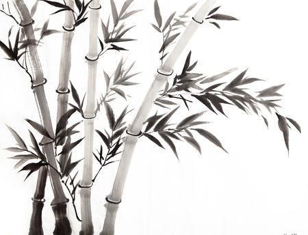 伝統的な中国絵画、白と黒の竹 写真素材