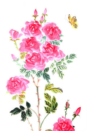 traditional Chinese painting ,peony and butterfly photo