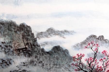 dibujo: la pintura china tradicional, paisaje Foto de archivo