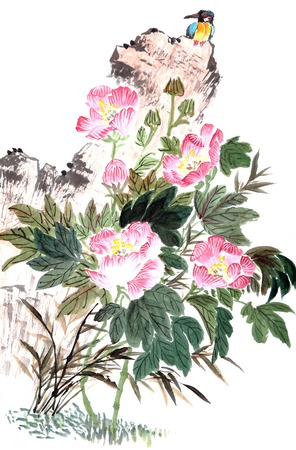 traditional Chinese painting ,peony and bird photo
